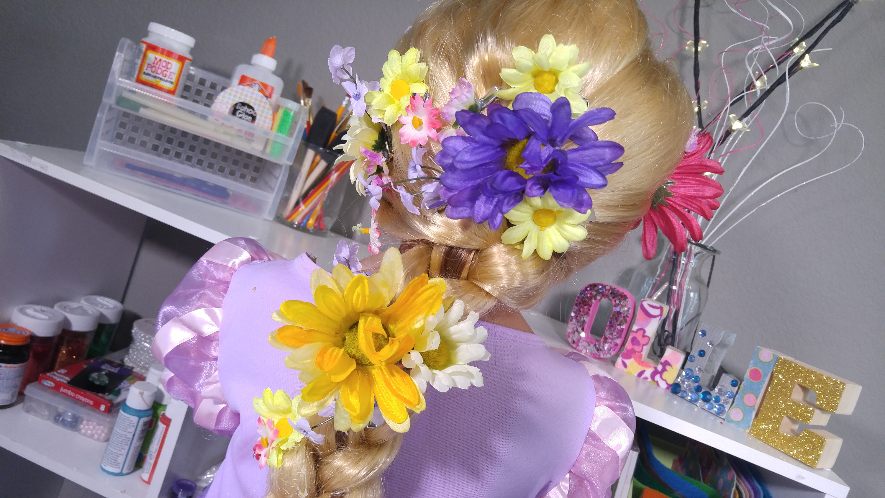 Diy rapunzel flower hair clips diywithollie tangled movie craft tutorial mightylinksfo