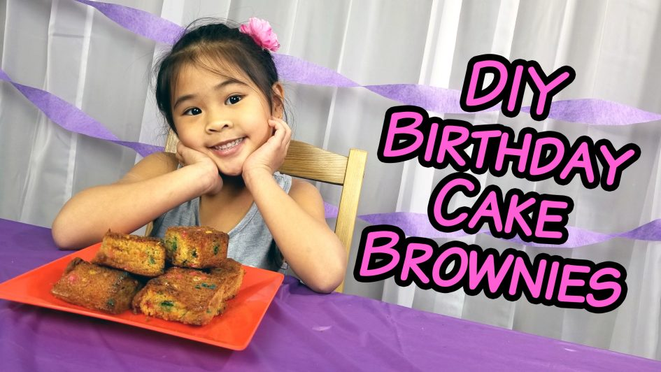 Birthday cake brownies by Ollie on YouTube!